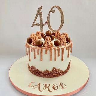 Rose Gold 40th Drip Cake