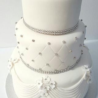 Wedding Cake Diamond and Drapped Icing - Cake by Creative Cakes - Deborah Feltham