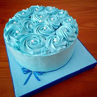 TARTA ROSAS AZULES - Cake by Camelia