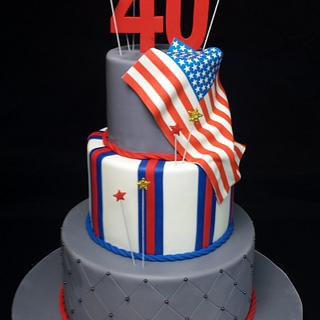 American Pride for a 40 B-day - Cake by Cybele Sugar Artist