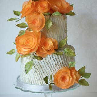 Peach and Silver Anniversary Cake