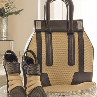 Black & Beige Handbag and Shoe Cake