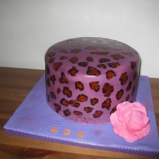 leopard print cake with cabbage rose