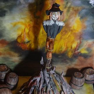 Guy Fawkes Bonfire and Gunpowder Cake