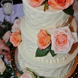 buttercream wedding cake texture design