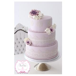 Lilac Wedding Cake with Lace