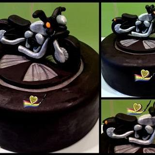 Cake design applied to a black forest cake. My Harley motorbike cake.