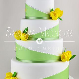 Spring Tulips Wedding Cake - Cake by Sandra Monger