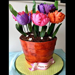 Anniversary Flower Pot With Parrot Tulips
