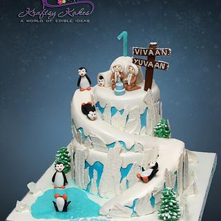 Eskimo+Penguins themed cake