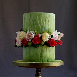 Green floral cake