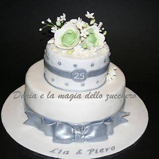 silver cake 25 wedding anniversary