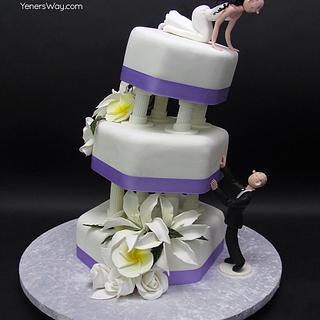 """Falling in Love"" Wedding Cake"