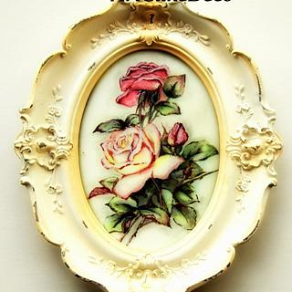 Vintage china painting on a cookie