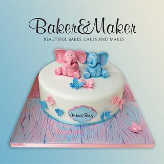 Elephants and Butterflys Christening Cake