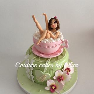 BD cake ,,lady in a cup,, - Cake by Couture cakes by Olga