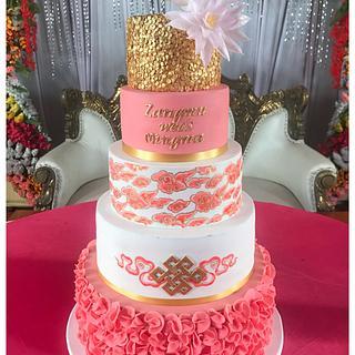 Tibetan motifs cake - Cake by Homebaker