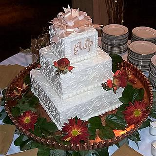 Square Wedding Cake with Gold Bow
