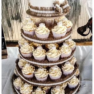 Burlap and Lace cake and cupcake tower