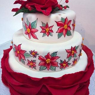 Christmas flowers birthday cake