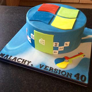 Windows Cake for a Self Confessed, Guitar Playing, Computer Geek - Cake by K Cakes