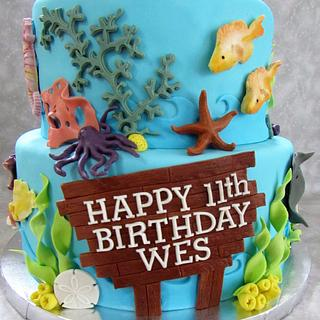 Ocean Themed Birthday Cake