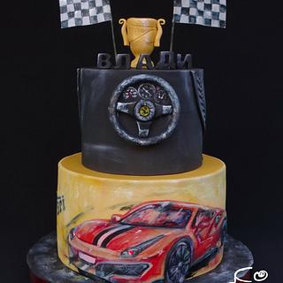 Ferrari cake with lights  - Cake by Diana