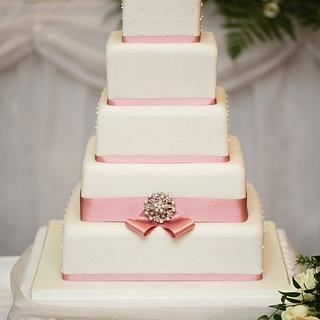 Dusky Rose & Diamante Wedding Cake - Cake by cakesbymiriam