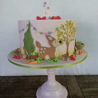 Pepper's First Birthday Woodland Cake