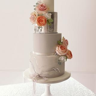 Grey marbled wedding cake