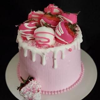 Strawberry Vanilla Drip Cake - Cake by Celene's Cuisine
