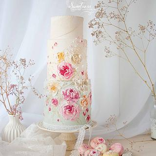 Royal Icing Knife Painting Cake