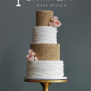 Gold Pearl and Ruffles Wedding Cake