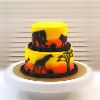 Silhouette Images of Jungle  - Cake by Shilpa Kerkar