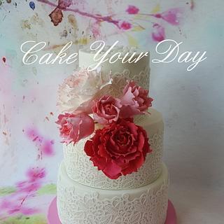 Pink peony Wedding Cake.