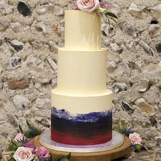 Watercolour wedding cake