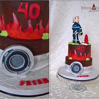 40th birthday for fireman - Cake by Tortolandia
