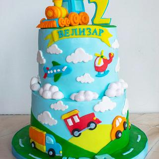 Cake with transport vehicles. - Cake by TortIva