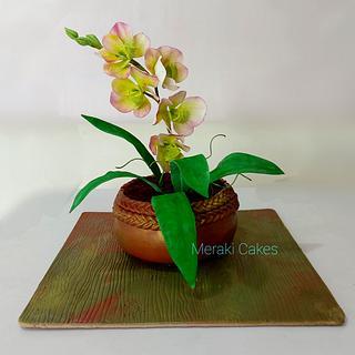Realistic orchid pot cake - Cake by Priya Tamuli Meraki Cakes