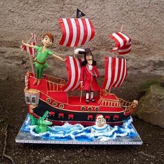 Peter Pan, captain Hook and his 3D Jolly Roger