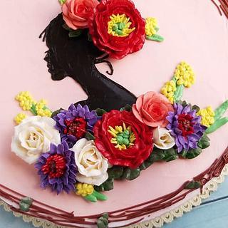 Women's day flower butter cream cake