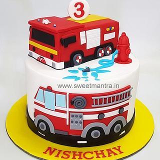 Firetruck theme fondant cake for boy's birthday