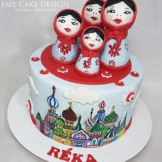 Matryoshka Russian painted cake