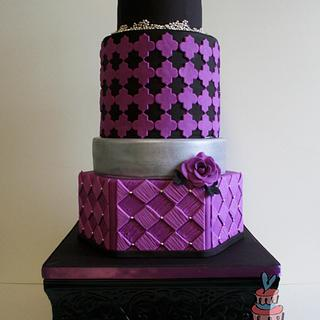 Purple and Black Wedding Cake - Cake by Heather