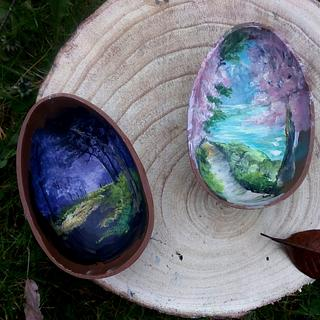Painted chocolate egg.
