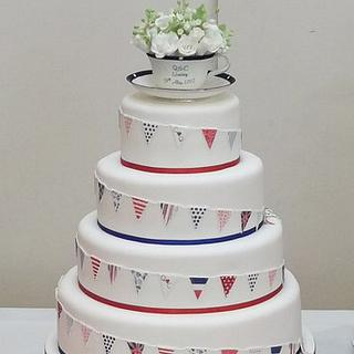 Bunting cake - Red, White & Blue