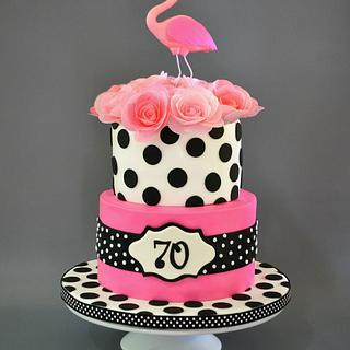 Pink Flamingo and Polka Dots