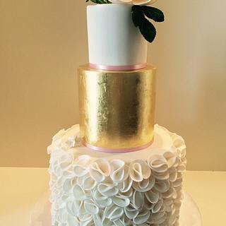 Ruffled fondant cake