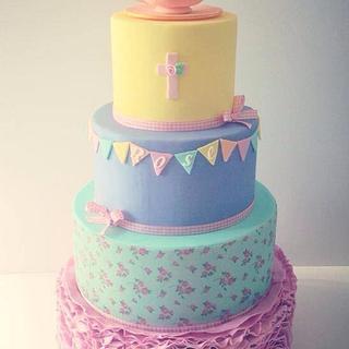 Rose ruffle pastel Christening cake