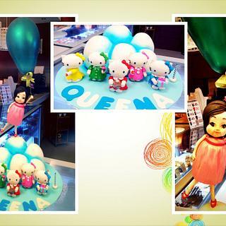 Hello Kitty & Chubby Girl with her Big Balloon